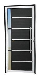 Porta Lambril Miraggio c/ Puxador Milão Escovado c/ Fechadura Rolete em Alumínio Mix Preto c/ Vidro Temperado - Brimak Super 25