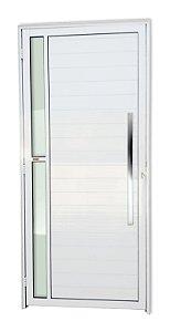 Porta Lambril Visione c/ Puxador Milão Polido c/ Fechadura Rolete em Alumínio Branco c/ Vidro Temperado - Brimak Super 25