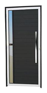 Porta Lambril Visione c/ Puxador Milão Polido c/ Fechadura Rolete em Alumínio Mix Preto c/ Vidro Temperado - Brimak Super 25