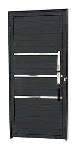 Porta Lambril Evolution c/ Puxador Dubai Polido c/ Fechadura Rolete em Alumínio Preto - Brimak Super 25