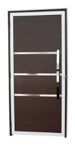 Porta Lambril Evolution c/ Puxador Dubai Polido c/ Fechadura Rolete em Alumínio Mix Corten - Brimak Super 25