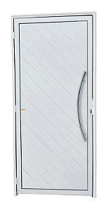 Porta Lambril Savana c/ Puxador Athenas Polido c/ Fechadura Rolete em Alumínio Branco - Brimak Super 25