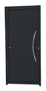 Porta Lambril Savana c/ Puxador Athenas Polido c/ Fechadura Rolete em Alumínio Preto - Brimak Super 25