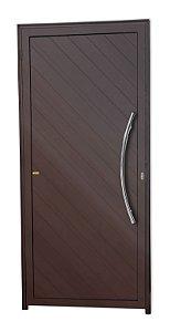 Porta Lambril Savana c/ Puxador Athenas Polido c/ Fechadura Rolete em Alumínio Corten - Brimak Super 25