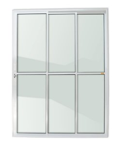 Porta de Correr 3 Folhas (1 Fixa) c/ Fechadura em Alumínio Branco c/ Vidro Liso - Brimak Super 25