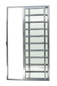 Porta de Correr 2 Folhas (1 Fixa) c/ Travessa Fechadura em Alumínio Brilhante c/ Vidro Liso - Brimak Super 25