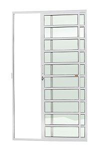 Porta de Correr 2 Folhas (1 Fixa) c/ Travessa Fechadura em Alumínio Branco c/ Vidro Liso - Brimak Super 25