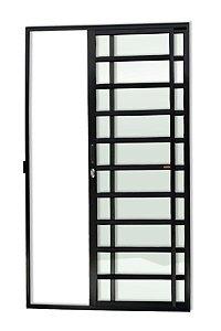 Porta de Correr 2 Folhas (1 Fixa) c/ Travessa Fechadura em Alumínio Preto c/ Vidro Liso - Brimak Super 25