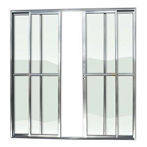 Porta de Correr 4 Folhas c/ Fechadura em Alumínio Brilhante c/ Vidro Liso - Brimak Super 25