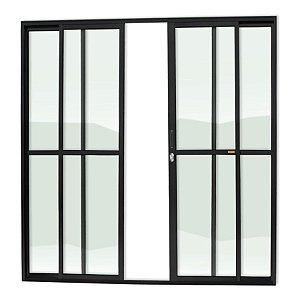Porta de Correr 4 Folhas c/ Fechadura em Alumínio Preto c/ Vidro Liso - Brimak Super 25