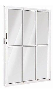 Porta Correr 3 Folhas (1 Fixa) Alumínio Branco Req. 8 cm - Linha Fortsul - Esquadrisul