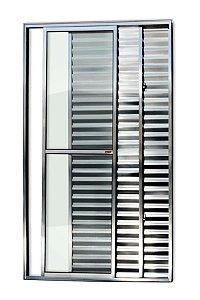 Porta Balcão 3 Folhas (1 Fixa) c/ Trinco em Alumínio Brilhante c/ Vidro Liso - Brimak Super 25
