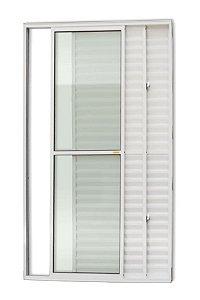 Porta Balcão 3 Folhas (1 Fixa) c/ Trinco em Alumínio Branco c/ Vidro Liso - Brimak Super 25