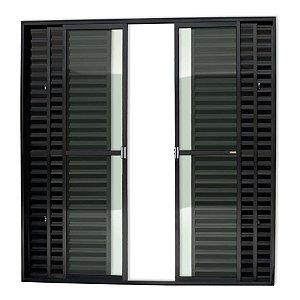 Porta Balcão 6 Folhas c/ Trinco em Alumínio Preto c/ Vidro Liso - Brimak Super 25