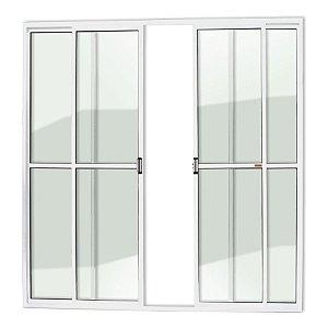 Porta de Correr 4 Folhas c/ Trinco em Alumínio Branco c/ Vidro Liso - Brimak Super 25