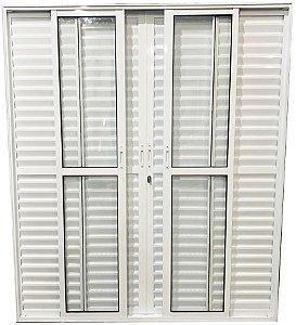 Porta Balcão 6 Folhas Alumínio Branco C/fechadura Vdr. Liso - SPJ Linha 25