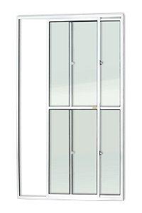 Porta de Correr 2 Folhas (1 Fixa) c/ Trinco em Alumínio Branco c/ Vidro Liso - Brimak Super 25
