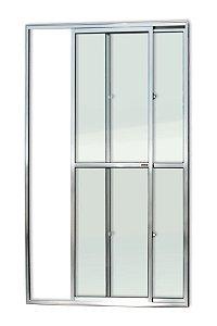 Porta de Correr 2 Folhas (1 Fixa) c/ Trinco em Alumínio Brilhante c/ Vidro Liso - Brimak Super 25