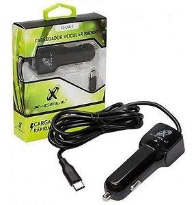 Carregador Veicular para Celular c/ Cabo + 1 entrada USB