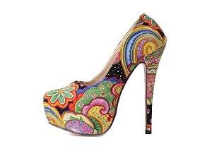 Sapato com Estampa Floral