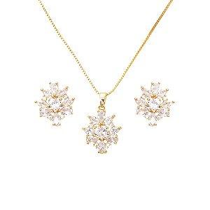 Conjunto Brinco e Colar Flor em Zircônia incolor folheado a ouro 18k c6b9029864