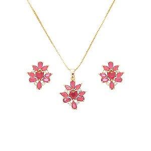 Conjunto Brinco e Colar Flor em Zircônia rosa folheado a ouro 18k 0b6348a10f