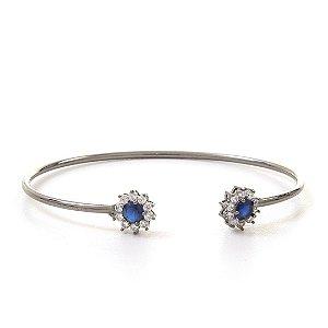 Bracelete florzinhas em zircônias incolor e azul folheado em ródio negro 288fbbae7e
