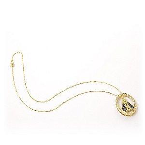 Colar Pingente Nossa Senhora Aparecida micro zircônia folheado a ouro 18k 0126dc7613