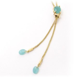 Colar ajustável com pedra azul turquesa folheado a ouro 18k f3f90a01d6