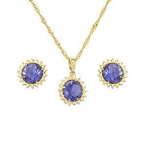 Conjunto brinco e colar com pedra azul royal banhado a ouro 18k d49c1bf9f4