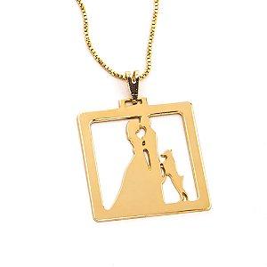Colar Pingente ponto de luz incolor folheado a ouro 18k - Vitorino ... 28d5cf1aaa