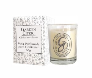 Vela Aromática de Ambientes Greenone 56g Branca c/ copo - Garden Citric
