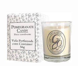 Vela Aromática de Ambientes Greenone 56g Branca c/ copo - Pomegranate Candy