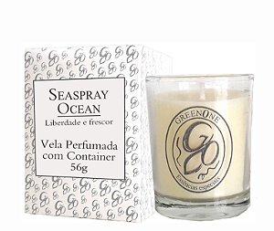 Vela Aromática de Ambientes Greenone 56g Branca c/ copo - Seaspray Ocean