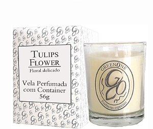 Vela Aromática de Ambientes Greenone 56g Branca c/ copo - Tulips Flower