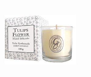 Vela Aromática de Ambientes Greenone 180g Branca c/ copo - Tulips Flower