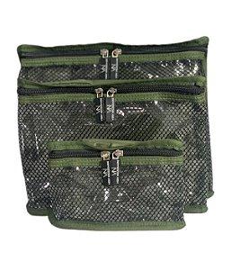 Kit nylon plastificado verde militar com preto