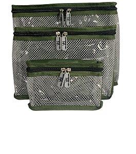 Kit nylon plastificado verde militar com cinza