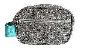 Necessaire mini dupla prata brilho com alça turquesa