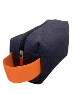 Necessaire Quadradinha Jeans com alça laranja