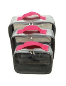 Kit Daslu nylon cinza com pink