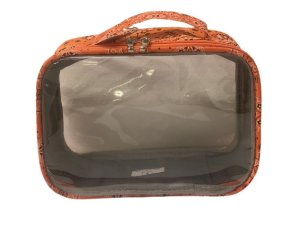 Necessaire transparente P bandana laranja