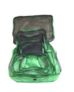 Kit nylon verde neon com zíper cinza