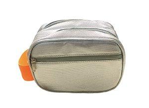 Necessaire Mini dupla prata diamante com alça laranja neon