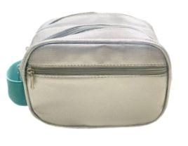 Necessaire mini dupla prata diamante com alça turquesa