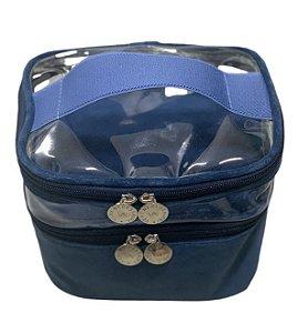 Mini frasqueira dupla plush azul