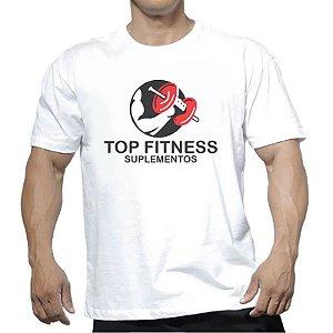 Camiseta Branca Com Estampa Top Fitness