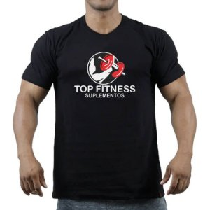 Camiseta Preta Com Estampa Top Fitness