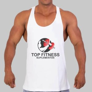Regata Branca Masculina Cavada Top Fitness
