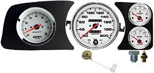 Painel Fusca 200km/h Cronomac com RPM L.E. / Sensor e Boia de Braço - Branco